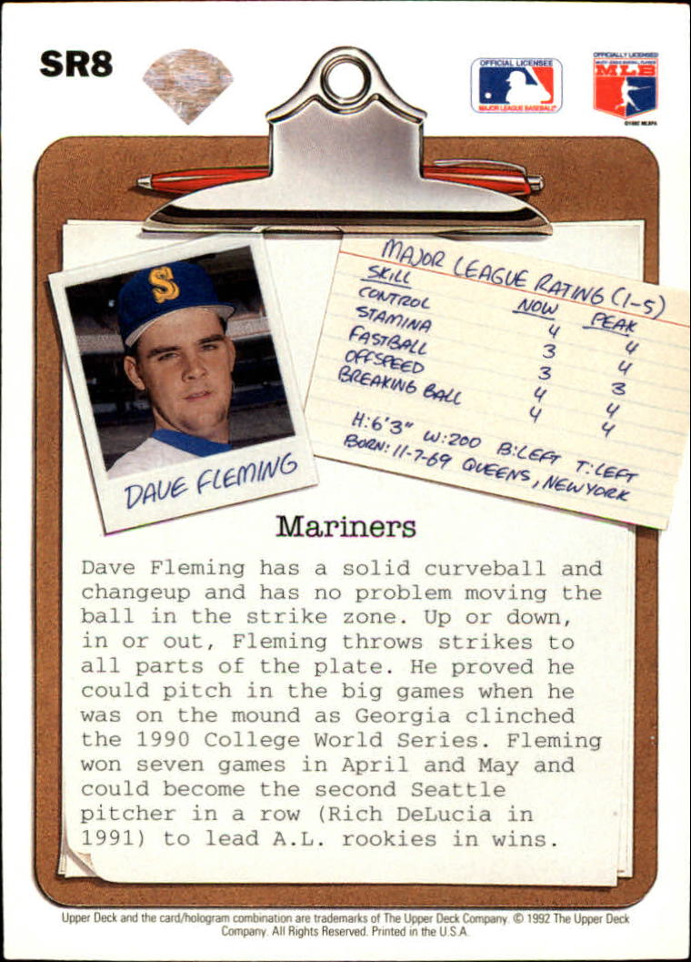 1992 Upper Deck Scouting Report #SR8 Dave Fleming back image