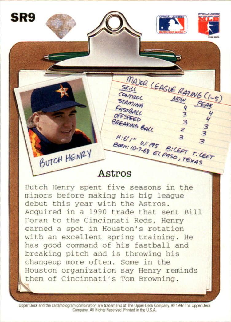 1992 Upper Deck Scouting Report #SR9 Butch Henry back image