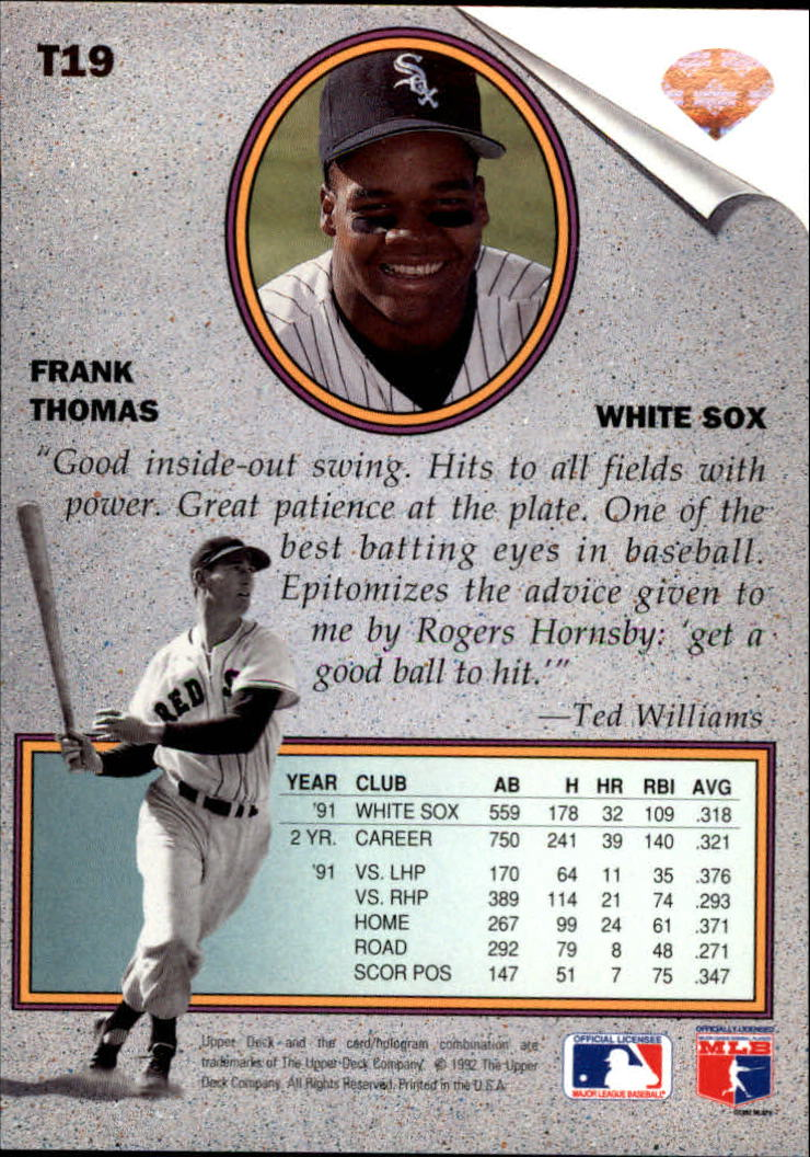 1992 Upper Deck Williams Best #T19 Frank Thomas back image