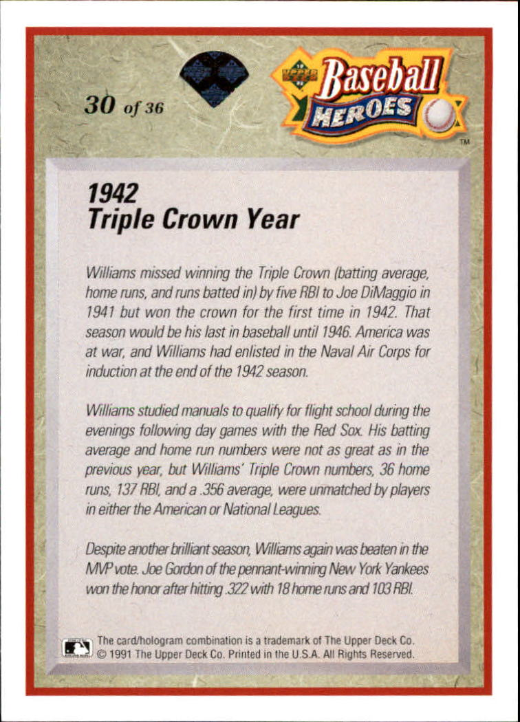 1992 Upper Deck Williams Heroes #30 Ted Williams back image