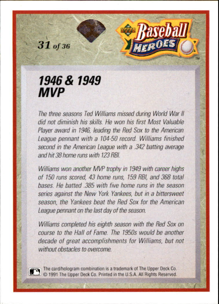 1992 Upper Deck Williams Heroes #31 Ted Williams back image