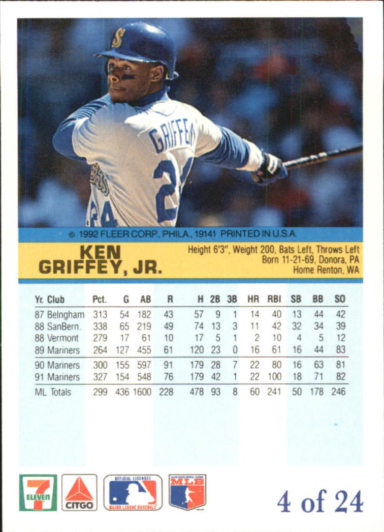 1992 Fleer Citgo The Performer #4 Ken Griffey Jr. back image