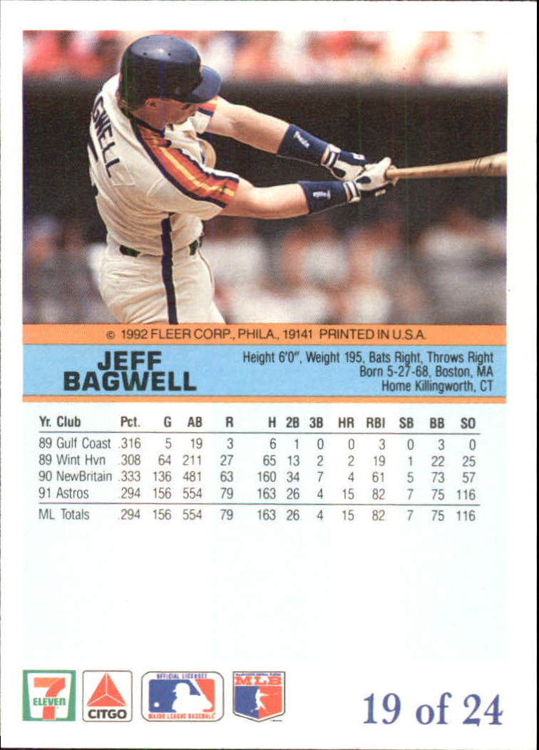 1992 Fleer Citgo The Performer #19 Jeff Bagwell back image