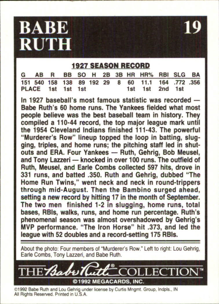1992 Megacards Ruth #19 The Best Baseball/Team in History 1927 back image