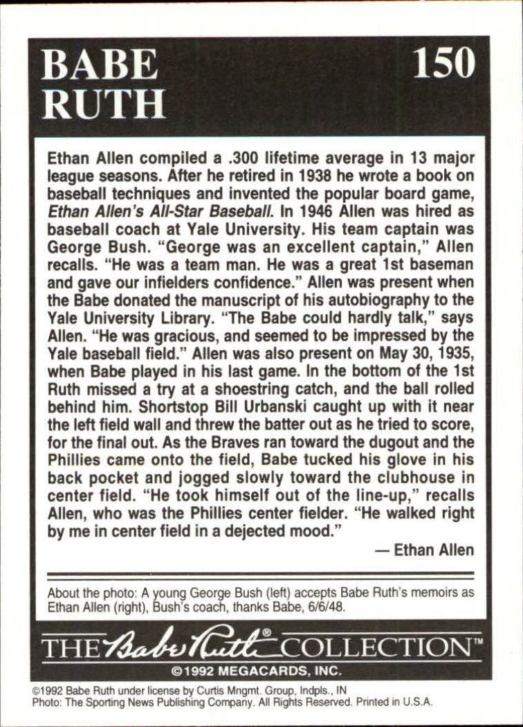 1992 Megacards Ruth #150 Being Remembered by/Ethan Allen 1948 back image