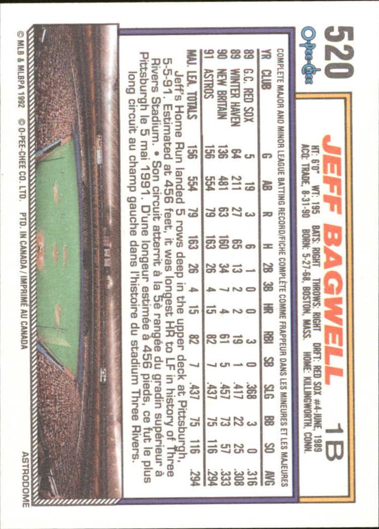 1992 O-Pee-Chee #520 Jeff Bagwell back image