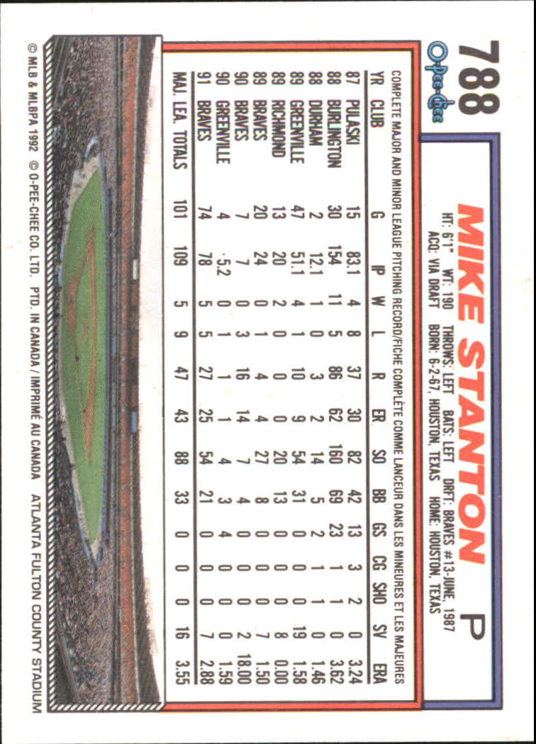 1992 O-Pee-Chee #788 Mike Stanton back image