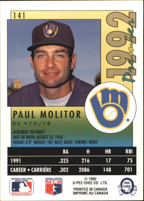 1992 O-Pee-Chee Premier #141 Paul Molitor back image