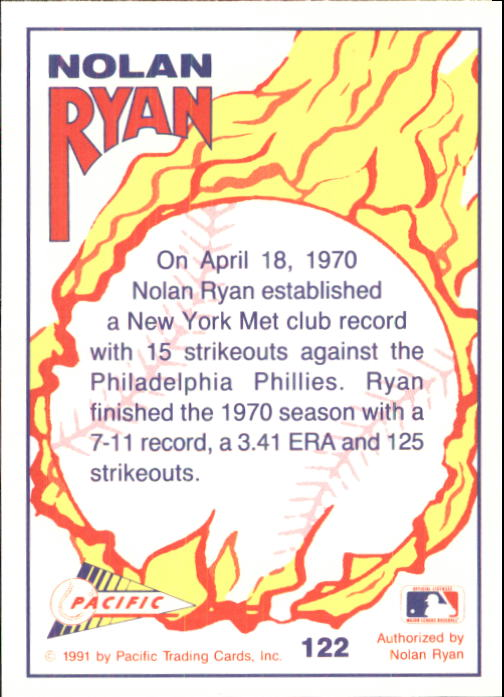 1992 Pacific Ryan Texas Express II #122 Nolan Ryan/New York Strikeout Record back image
