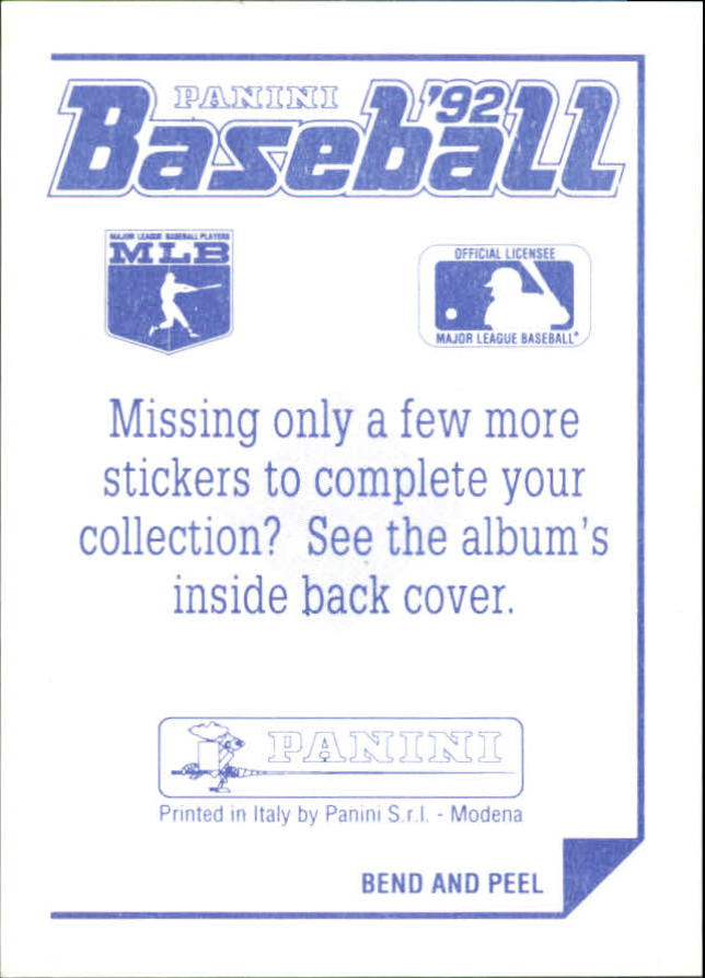 1992 Panini Stickers #2 MLB Logo back image