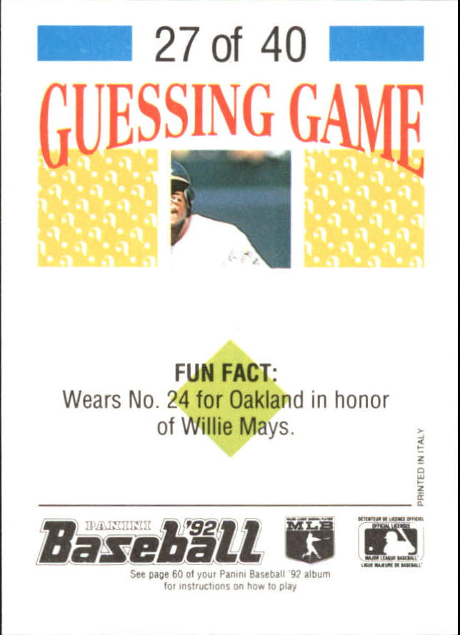 1992 Panini Stickers #60 Ken Griffey Jr. back image