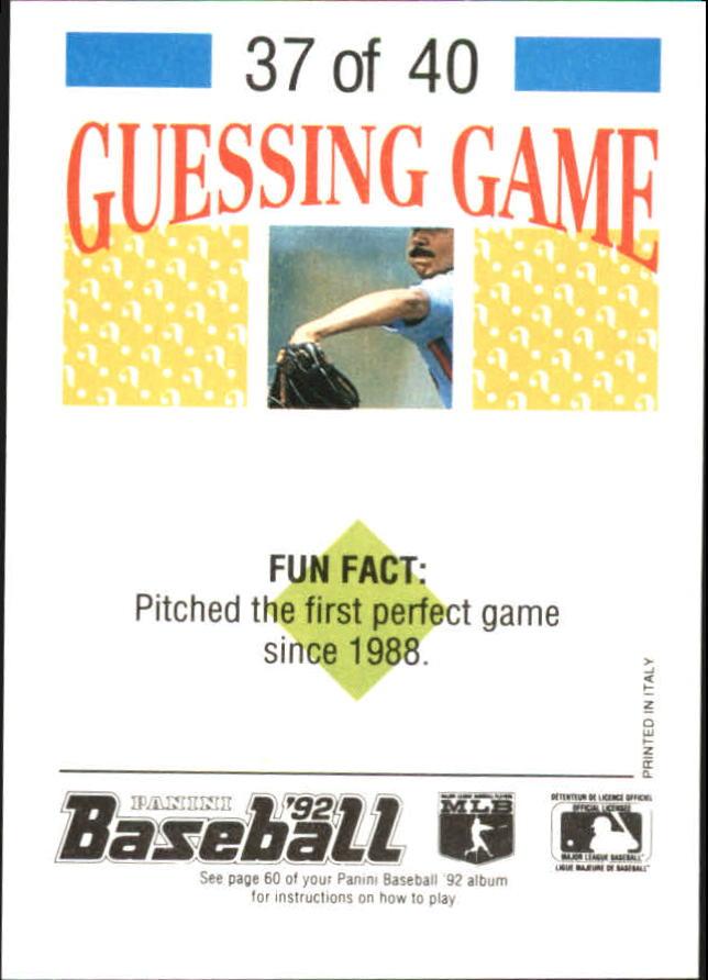1992 Panini Stickers #82 Nolan Ryan back image