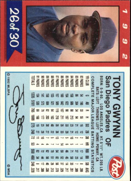 1992 Post #26 Tony Gwynn back image