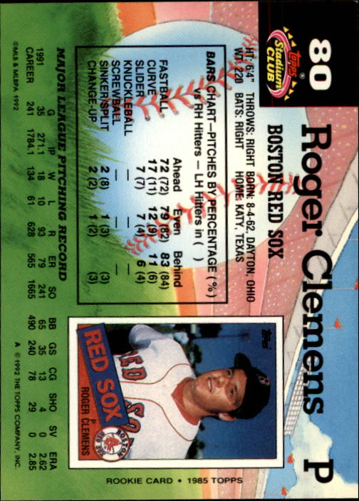 1992 Stadium Club #80 Roger Clemens back image
