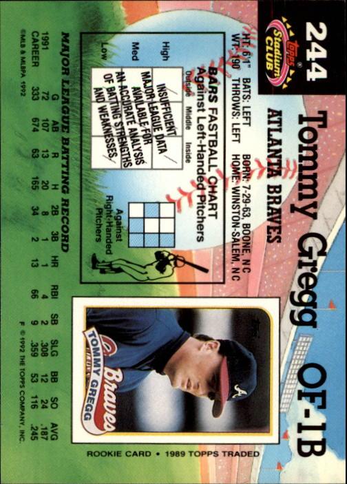 1992 Stadium Club #244 Tommy Gregg back image