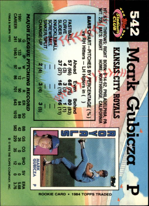 1992 Stadium Club #542 Mark Gubicza back image