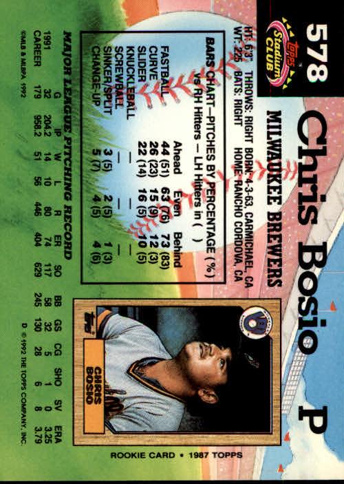 1992 Stadium Club #578 Chris Bosio back image