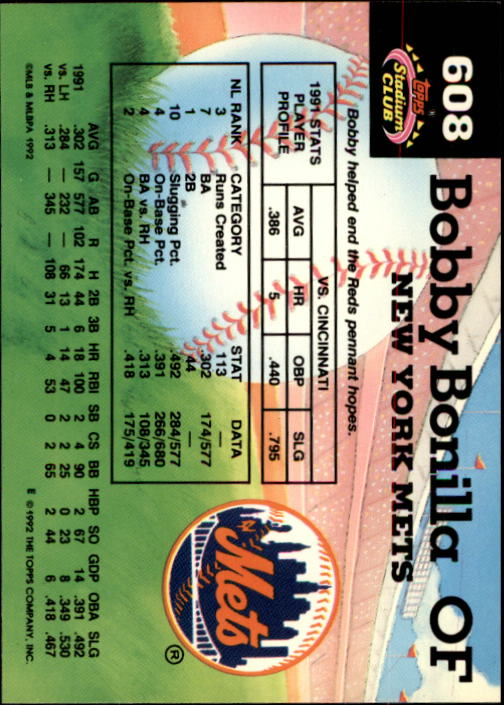 1992 Stadium Club #608 Bobby Bonilla MC back image