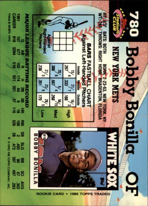 1992 Stadium Club #780 Bobby Bonilla back image