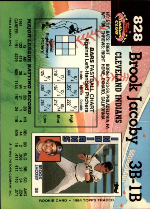 1992 Stadium Club #828 Brook Jacoby back image