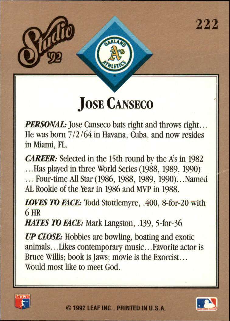 1992 Studio #222 Jose Canseco back image