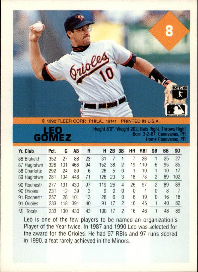 1992 Fleer #8 Leo Gomez back image