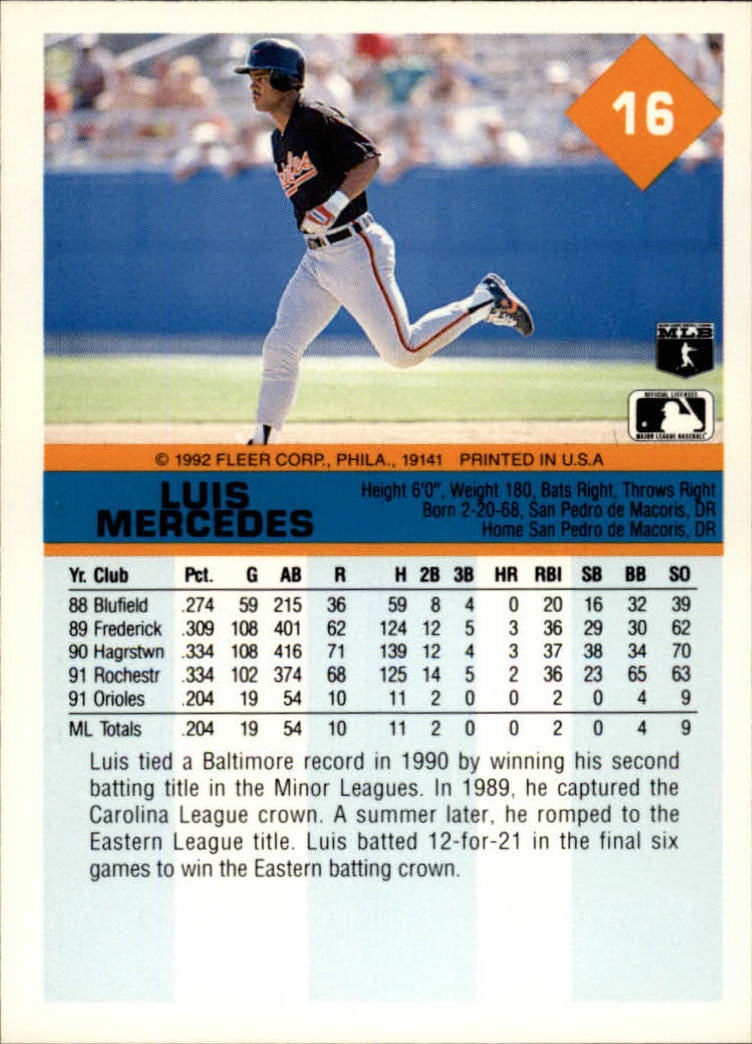 1992 Fleer #16 Luis Mercedes back image