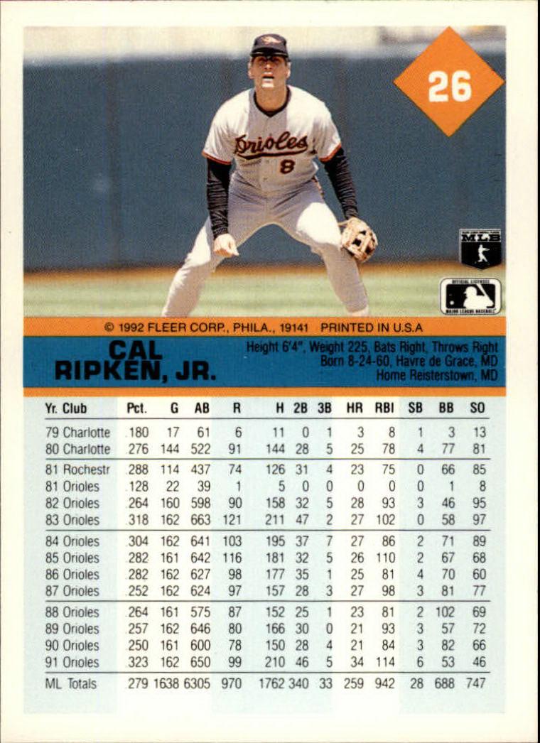 1992 Fleer #26 Cal Ripken back image