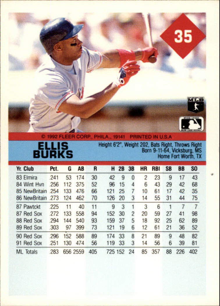 1992 Fleer #35 Ellis Burks back image