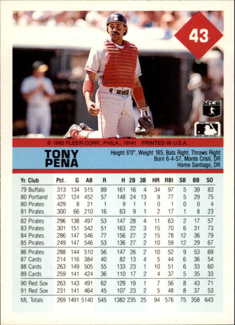 1992 Fleer #43 Tony Pena back image