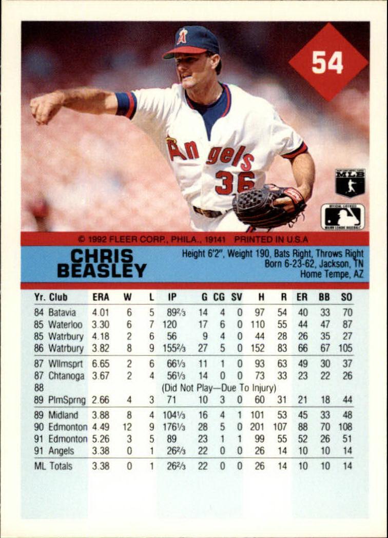 1992 Fleer #54 Chris Beasley back image