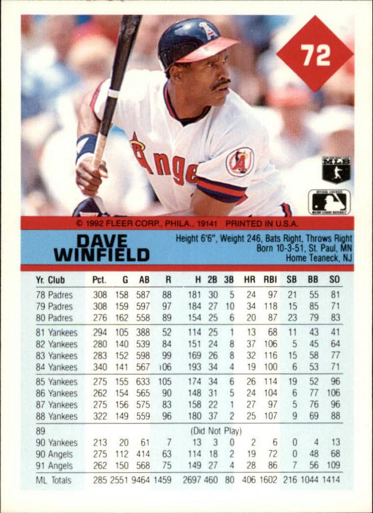 1992 Fleer #72 Dave Winfield back image