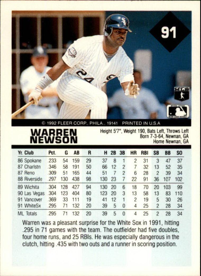 1992 Fleer #91 Warren Newson back image