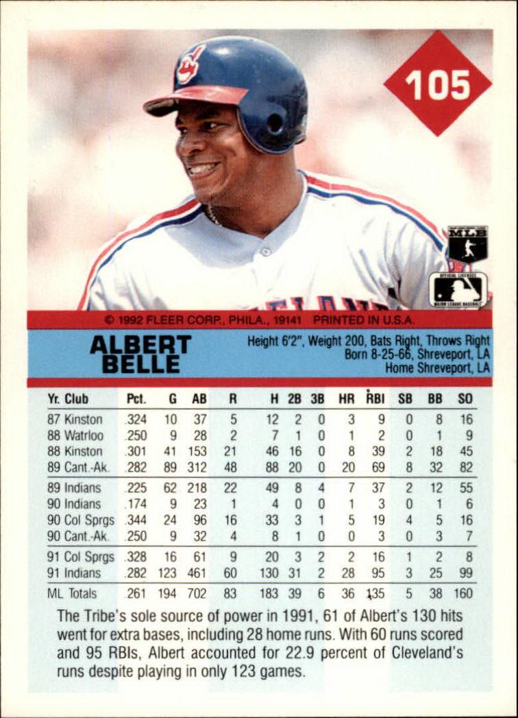 1992 Fleer #105 Albert Belle back image