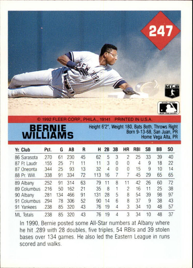 1992 Fleer #247 Bernie Williams back image
