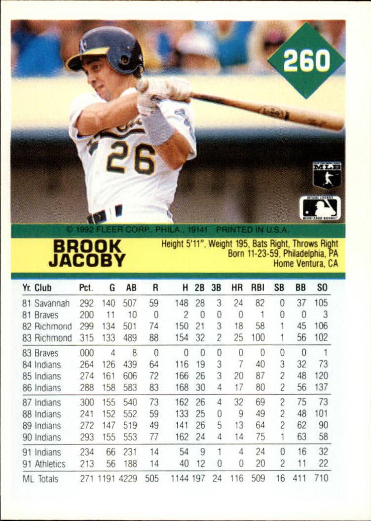 1992 Fleer #260 Brook Jacoby back image