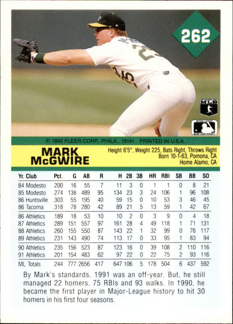 1992 Fleer #262 Mark McGwire back image