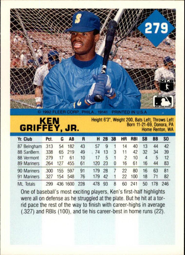 1992 Fleer #279 Ken Griffey Jr. back image