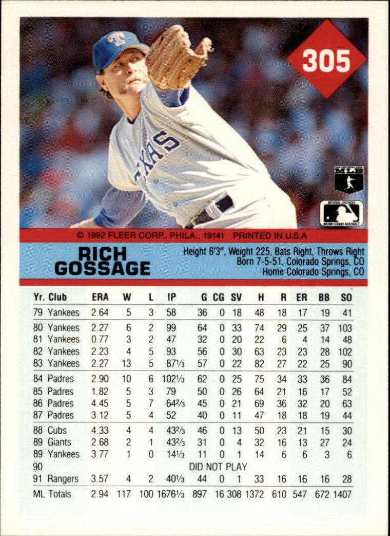 1992 Fleer #305 Rich Gossage back image