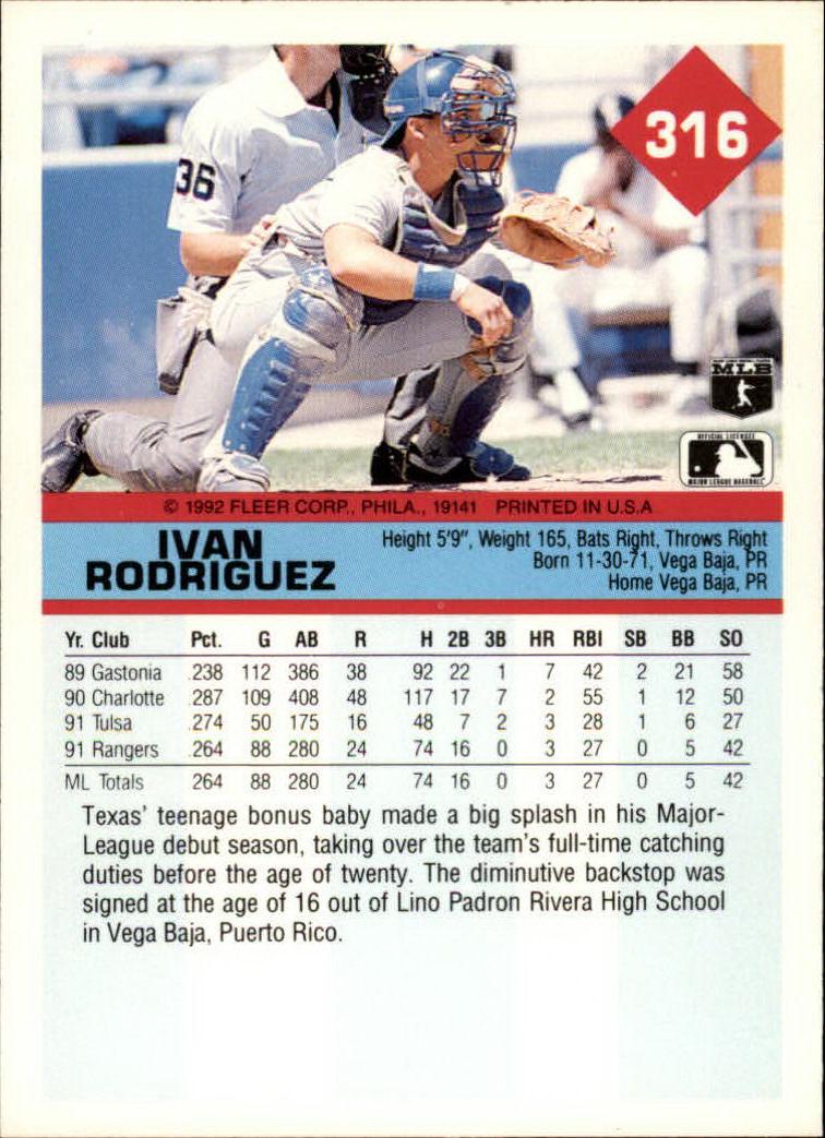 1992 Fleer #316 Ivan Rodriguez back image