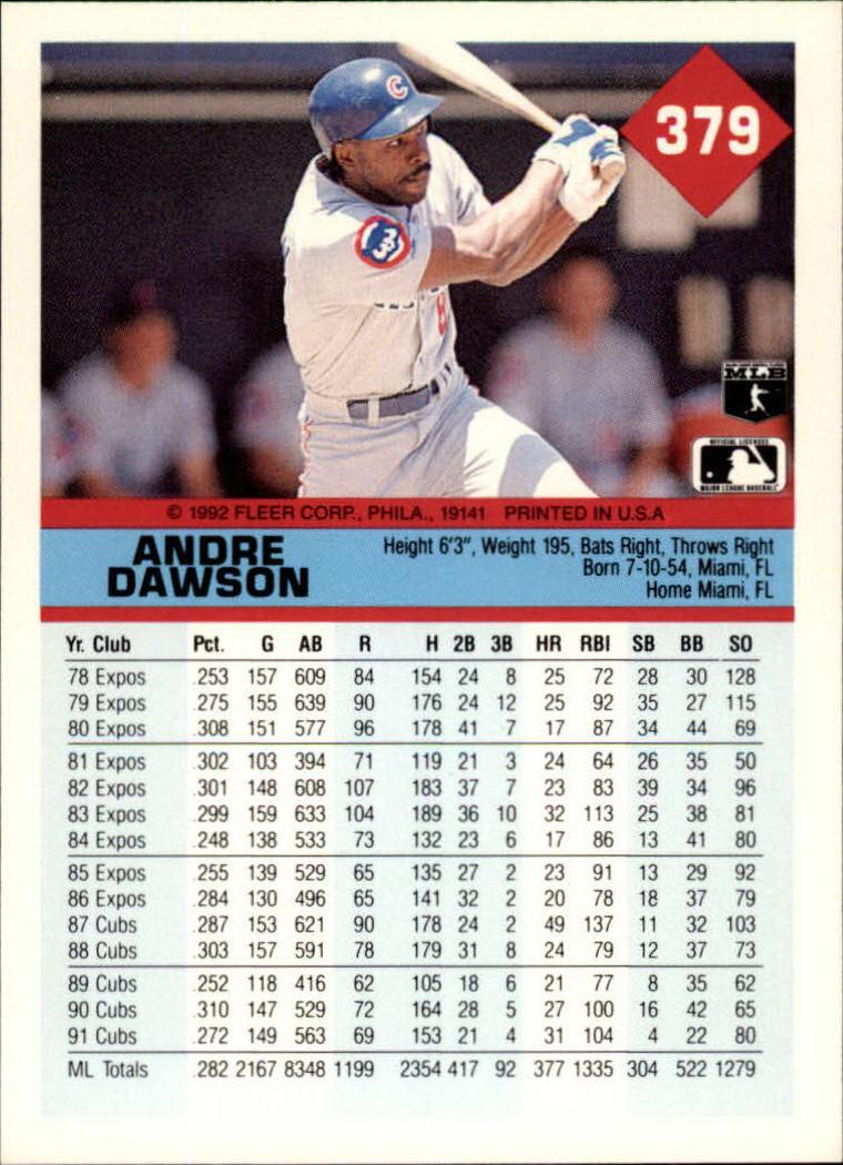 1992 Fleer #379 Andre Dawson back image