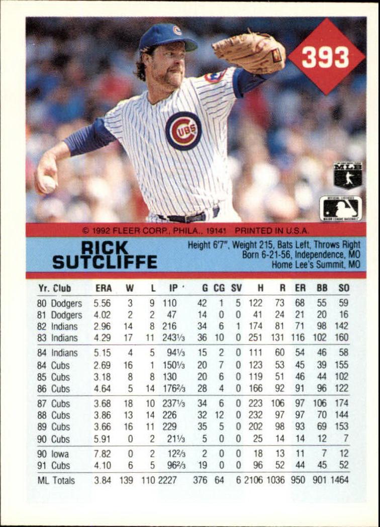 1992 Fleer #393 Rick Sutcliffe back image
