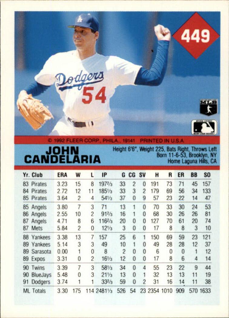 1992 Fleer #449 John Candelaria back image