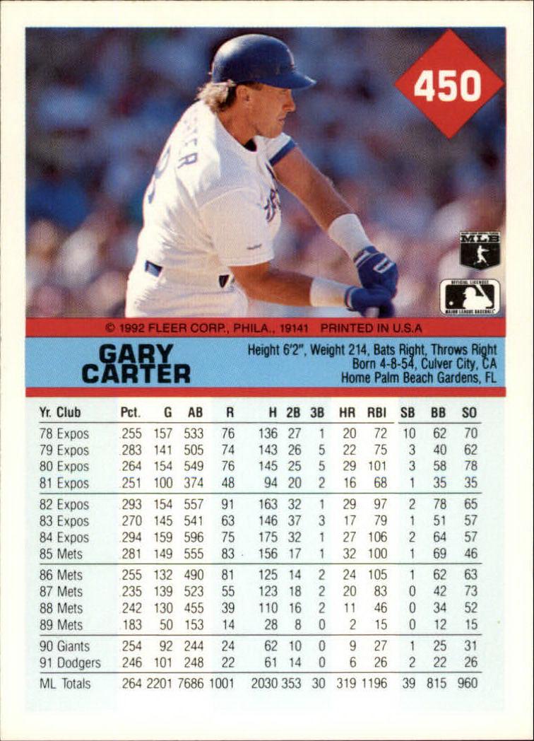 1992 Fleer #450 Gary Carter back image