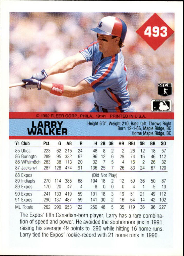 1992 Fleer #493 Larry Walker back image