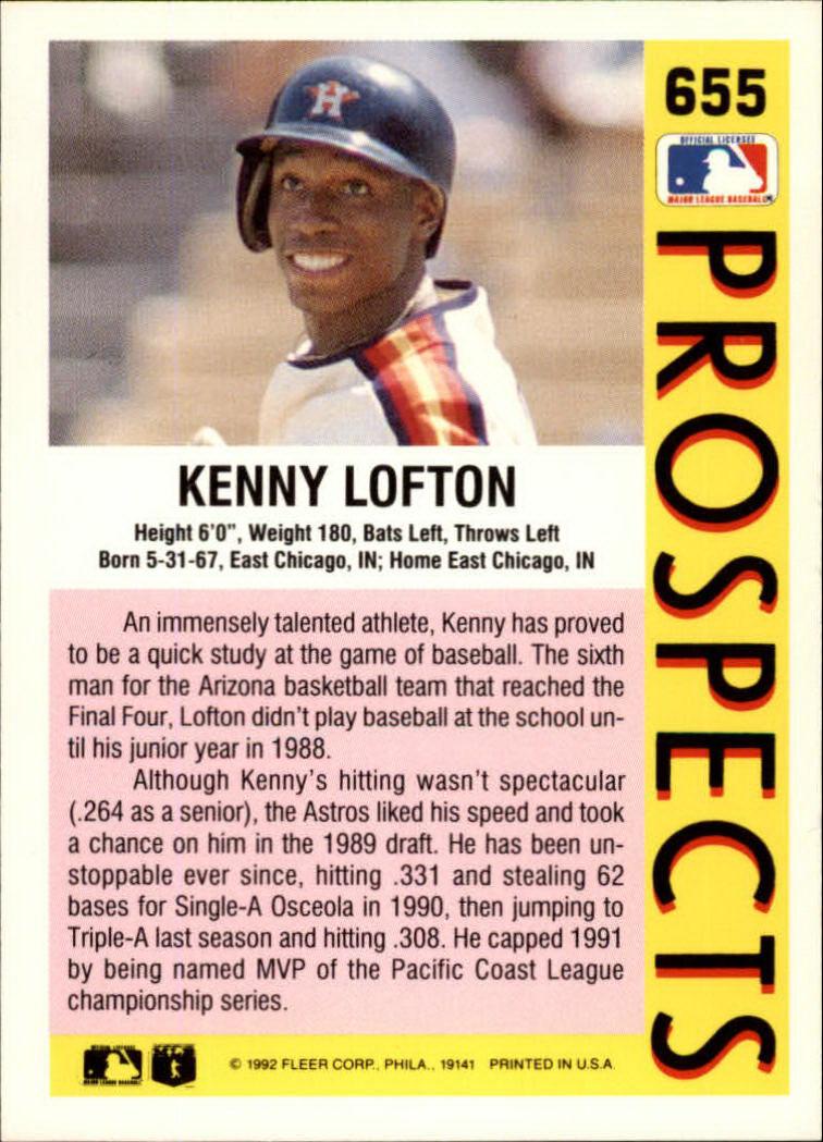 1992 Fleer #655 Kenny Lofton MLP back image