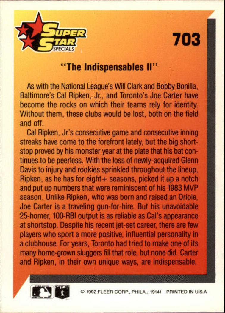 1992 Fleer #703 Cal Ripken/Joe Carter back image
