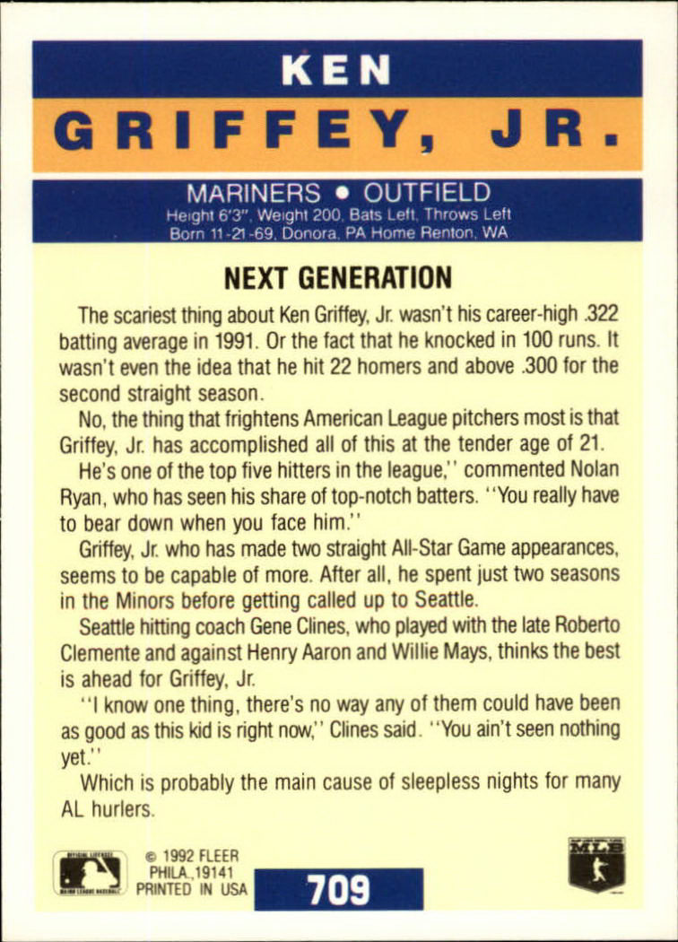 1992 Fleer #709 Ken Griffey Jr. PV UER/Missing quotations on/back; BA has .322, but/was actually .327 back image