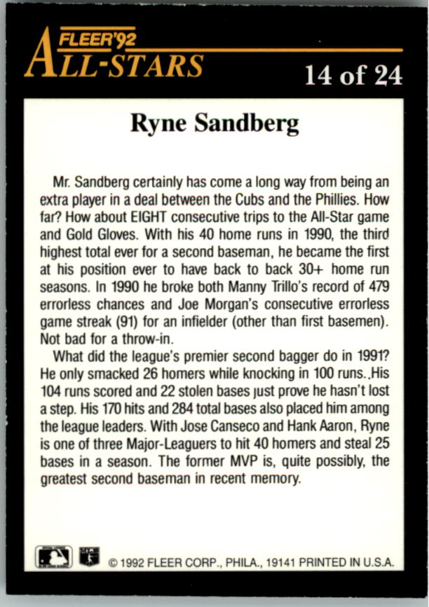 1992 Fleer All-Stars #14 Ryne Sandberg back image