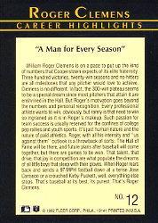 1992 Fleer Clemens #12 Roger Clemens/Man For Every Season back image